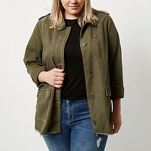Plus khaki green distressed stud army jacket