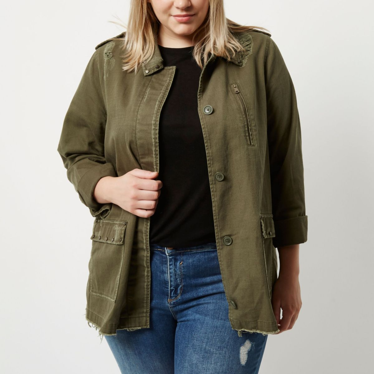 Plus khaki green distressed stud army jacket