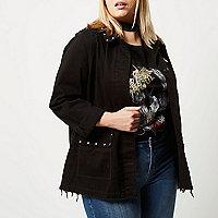 Plus black distressed stud army jacket