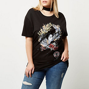 Plus black choker neck rock T-shirt
