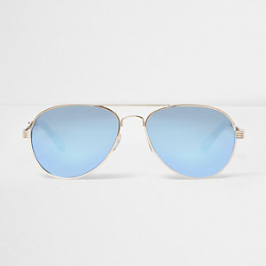 Gold blue fade aviator sunglasses