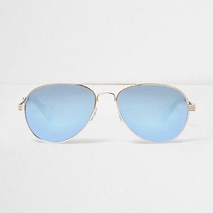 Gold blue fade aviator sunglasses
