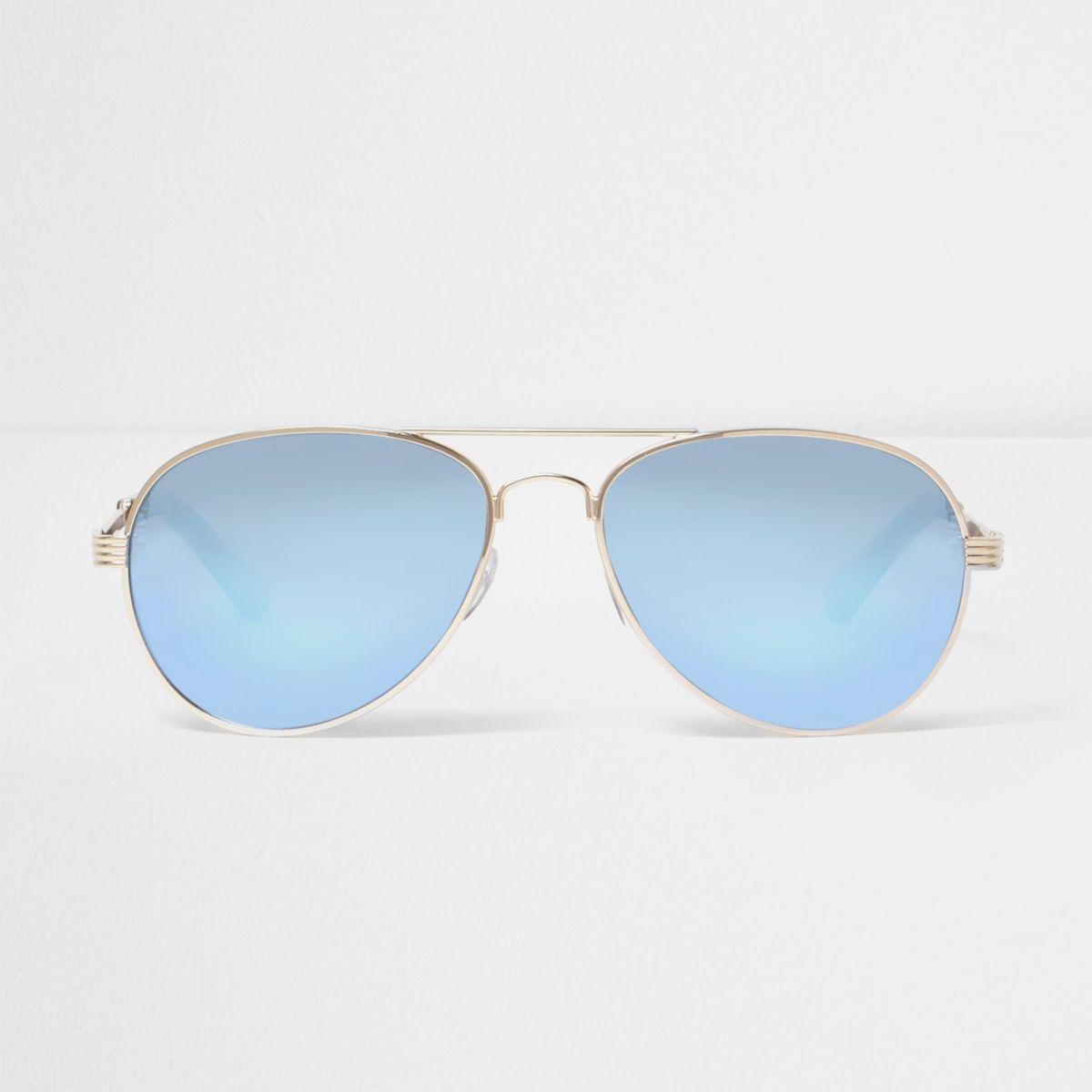 Lunettes de soleil aviateur dorées à verres bleus en dégradé