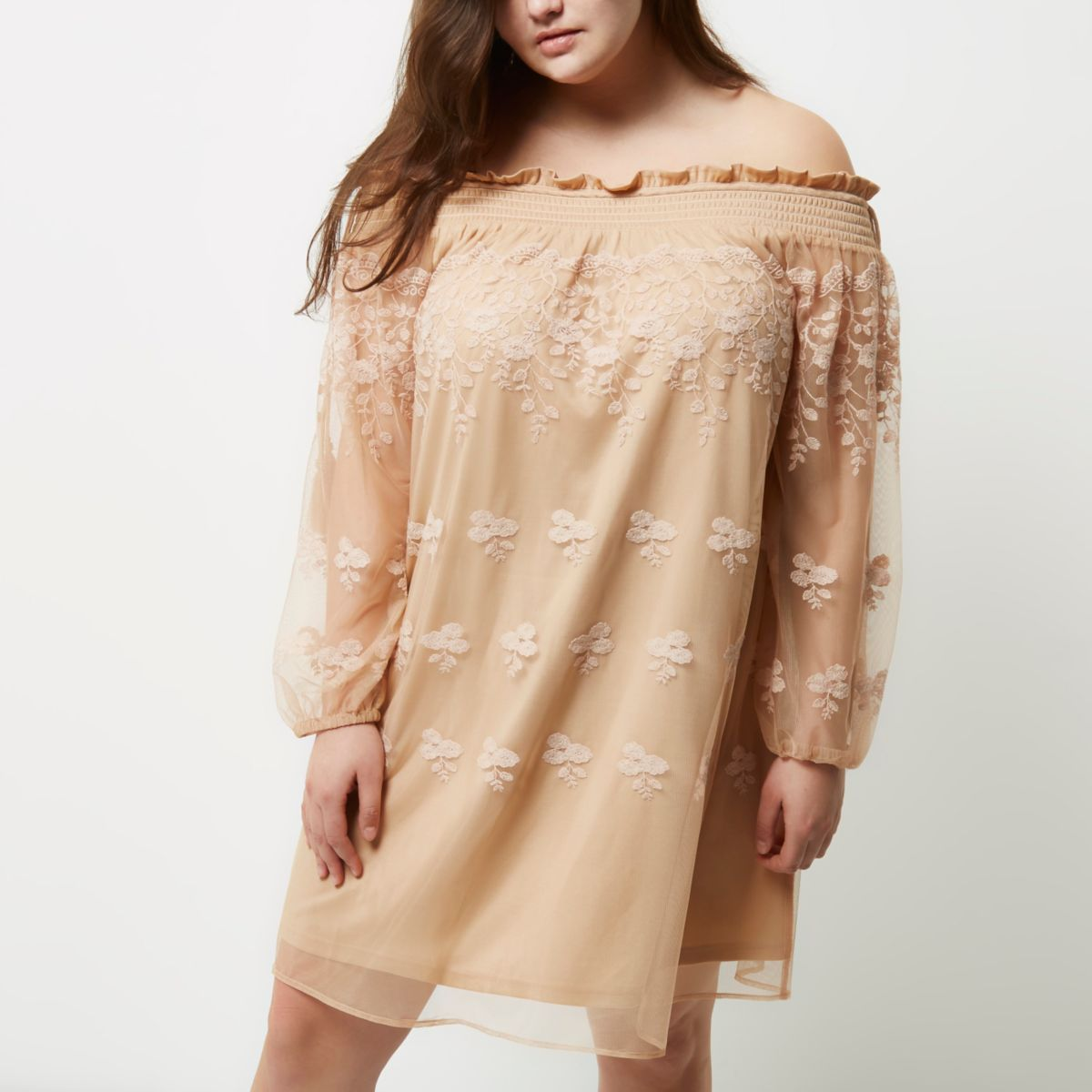 Plus light pink lace shirred bardot dress
