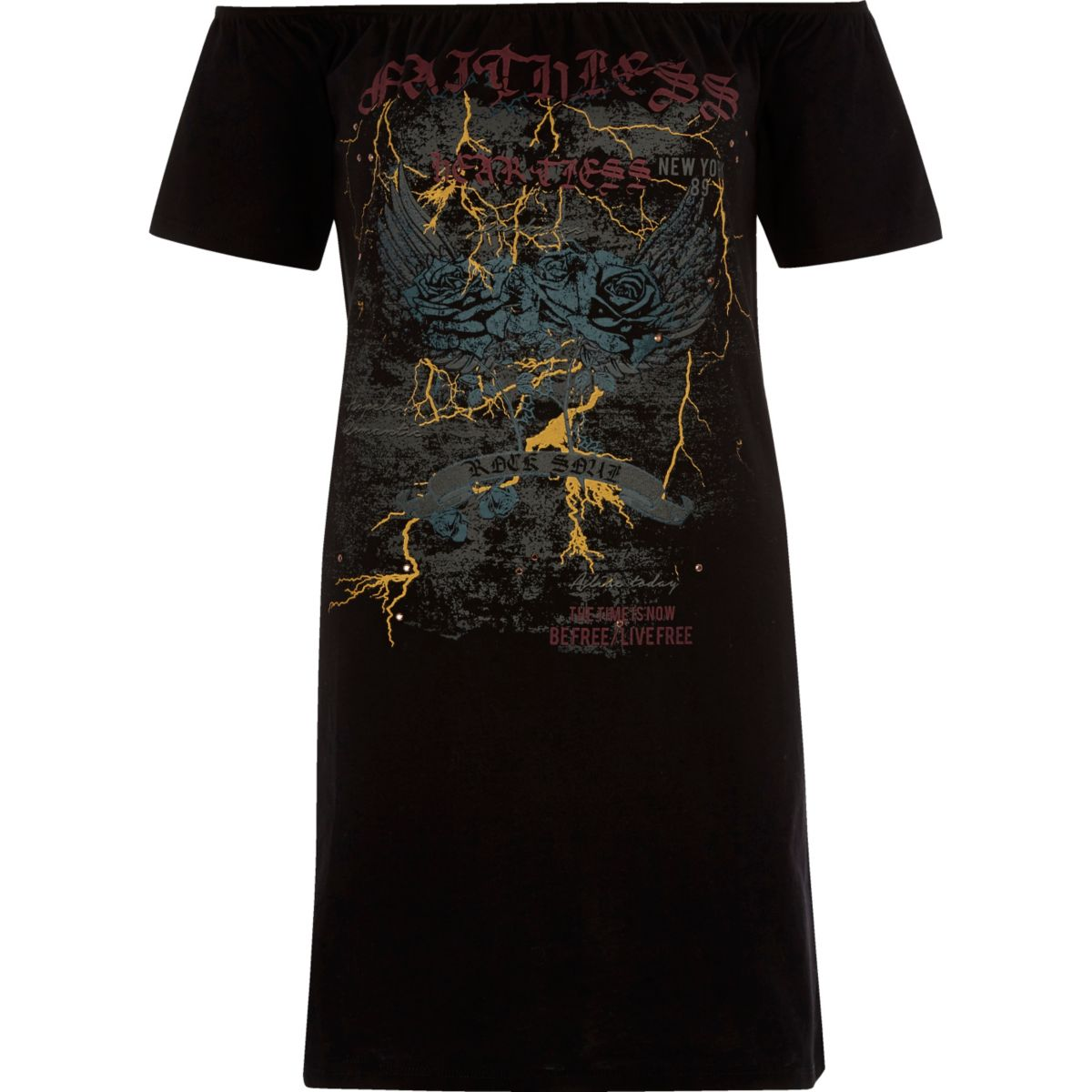 Black band print bardot T-shirt