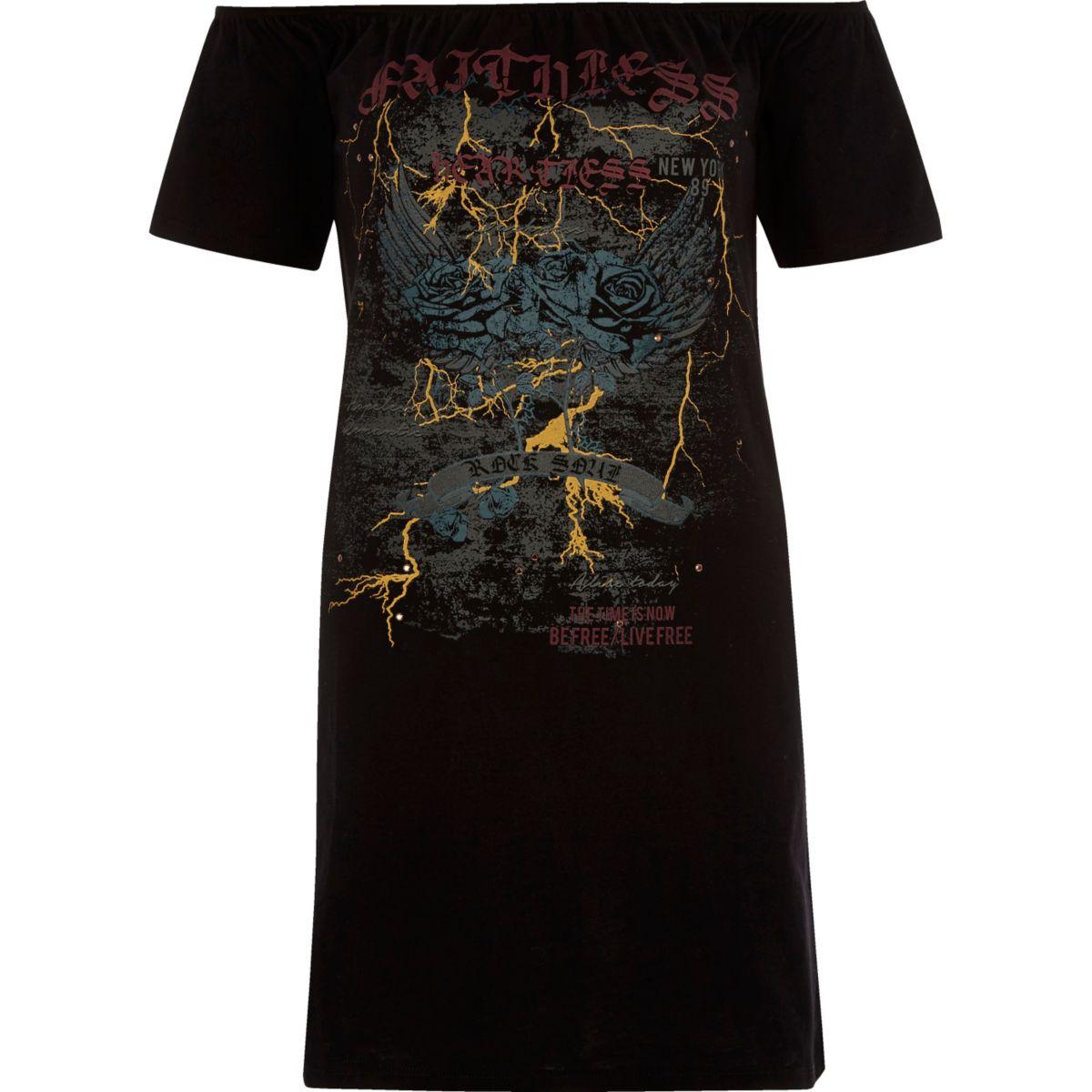 Zwart T-shirt in bardotstijl met bandprint