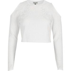 White knit cold shoulder long sleeve crop top