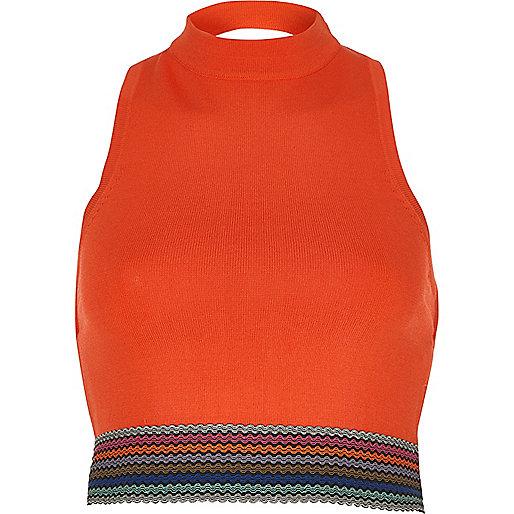 Orange high neck sleeveless crop top