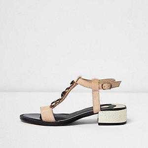 Nude gem embellished T-bar block heel sandals