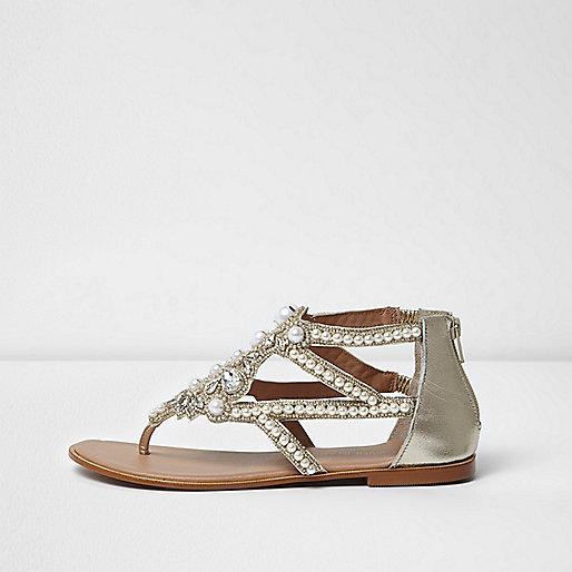 Silver embellished pearl sandals