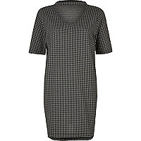 Black gingham longline choker T-shirt