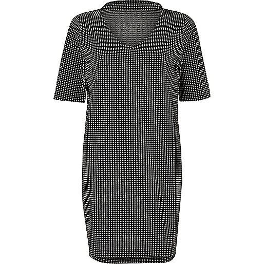 T-shirt oversize à carreaux vichy noir