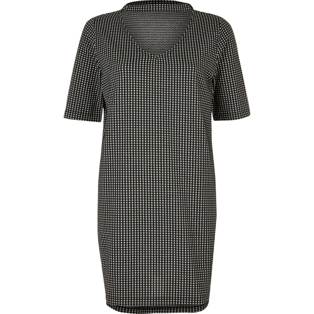 Zwart lang choker-T-shirt met gingham-ruit