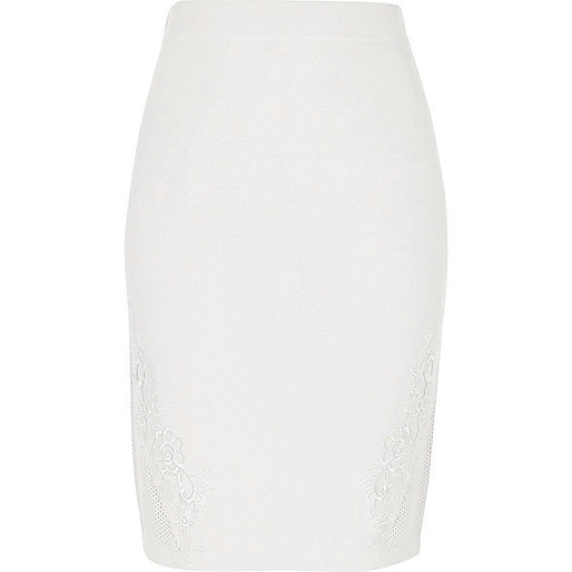 White knit floral appliqué bodycon skirt