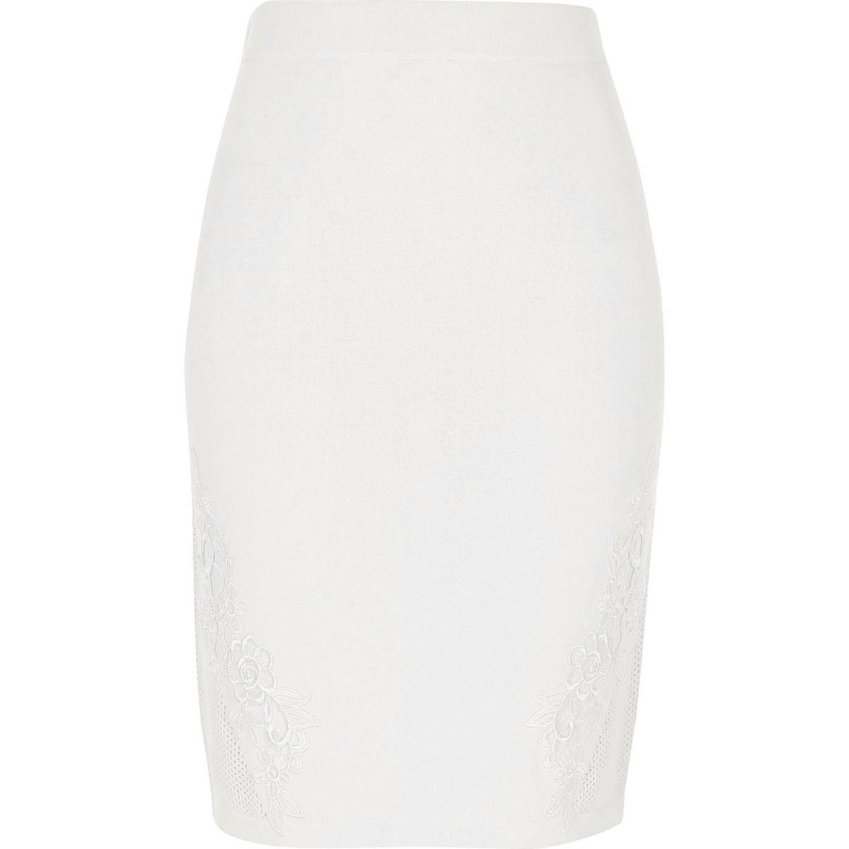 White knit floral appliqué bodycon skirt
