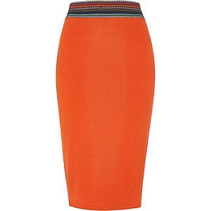 Oranje halflange kokerrok met gestreepte tailleband