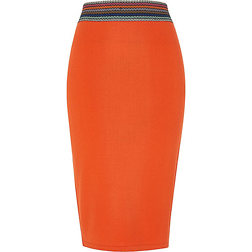 Orange stripe waist midi pencil skirt