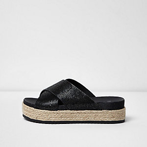 Black diamante strappy flatform espadrilles