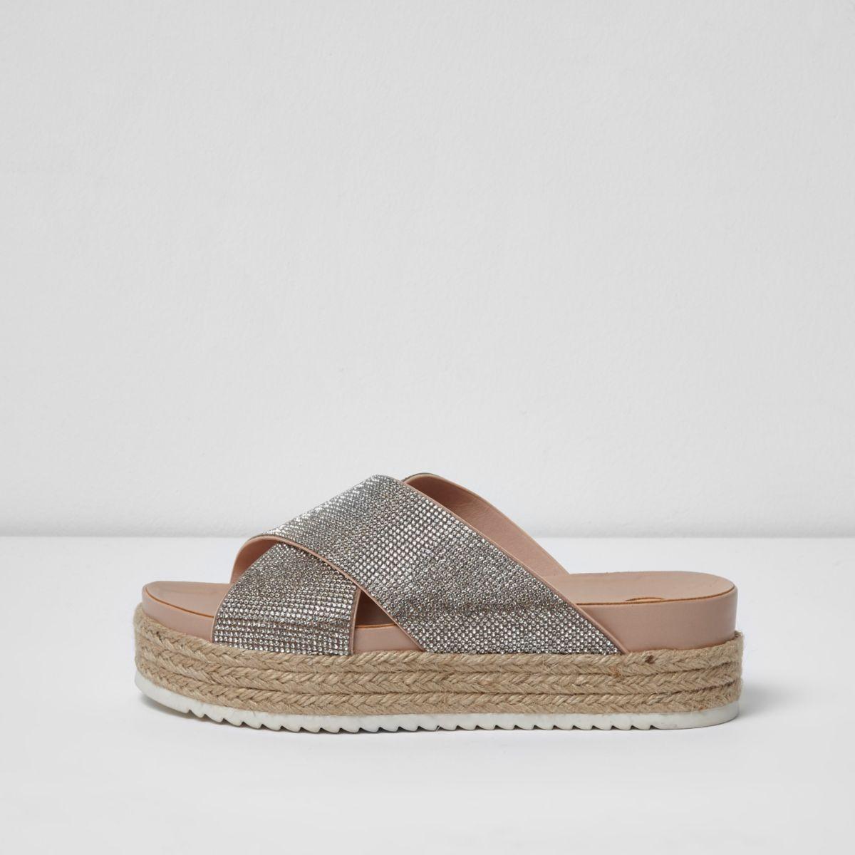 Beige embellished espadrille flatform sandals