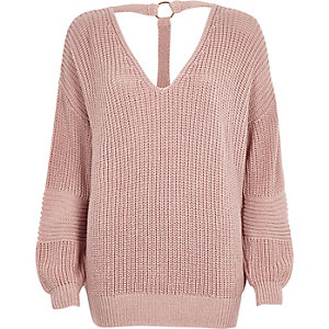 Blush pink oversized knitted V neck jumper
