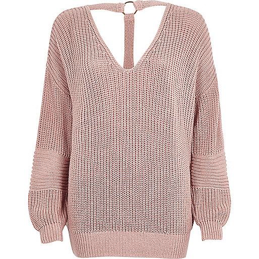 Blush pink oversized knitted V neck sweater