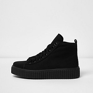 Black lace up flatform hi tops