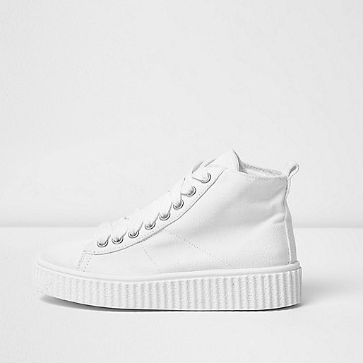 White chunky sole high top trainers