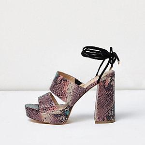 Pink snake print tie ankle platform mules
