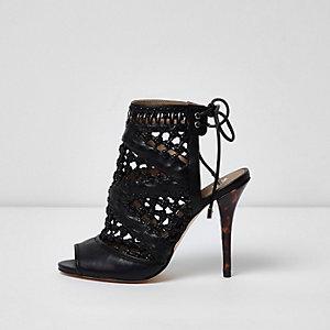 Black woven tie back stiletto sandals
