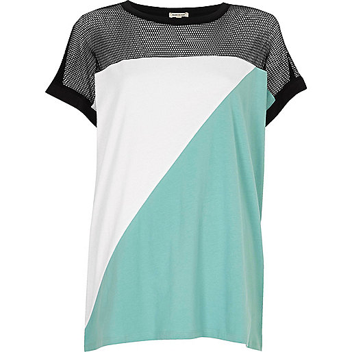 Green block mesh T-shirt