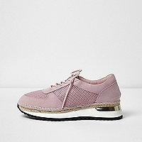Pink mesh espadrille runner sneakers