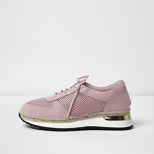 Pink mesh espadrille runner trainers