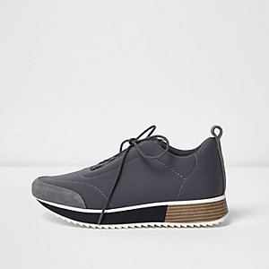 Grey lace-up scuba runner sneakers