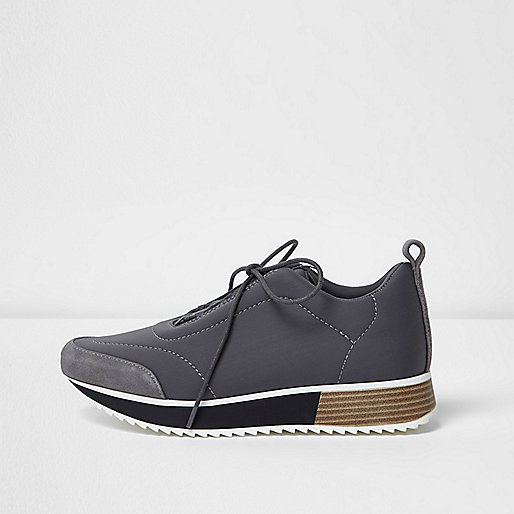 Grey lace-up scuba runner trainers