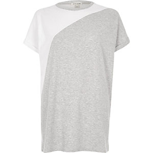 Grey colour block boyfriend T-shirt
