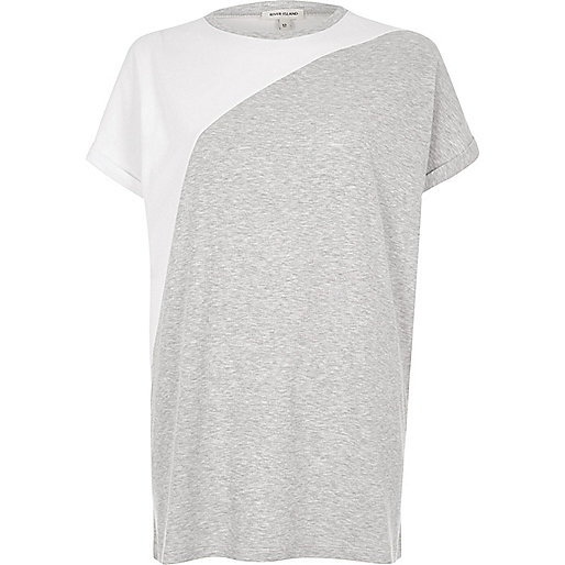 Grey color block boyfriend T-shirt