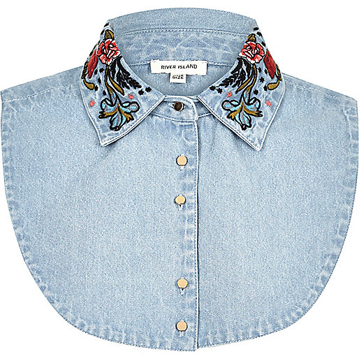 Blue denim floral embroidered collar bib