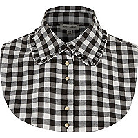 Black check frill collar bib