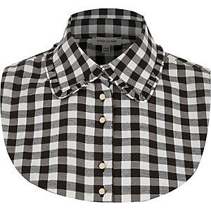 Black check frill collar bib