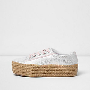 Silver lace-up espadrille flatform trainers