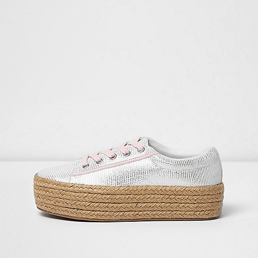 Silver lace-up espadrille flatform sneakers