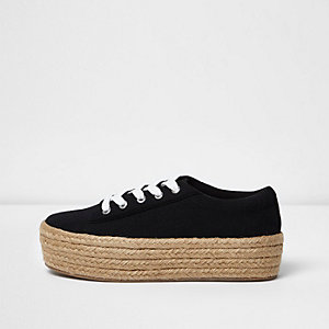Black lace-up espadrille flatform trainers