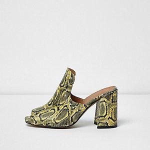 Yellow Leather Snakeskin Print Stud Mules