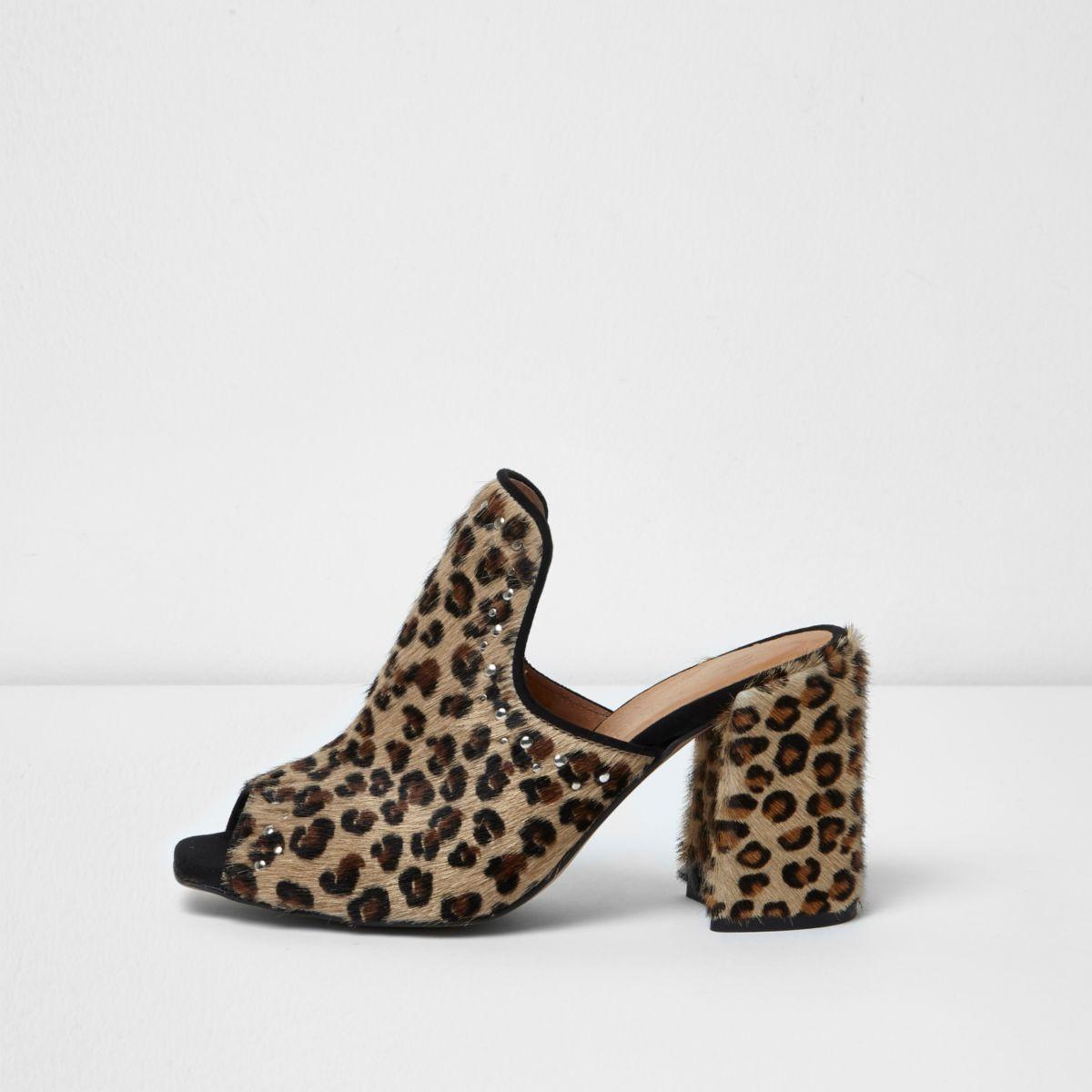 Brown leopard print diamante stud mules