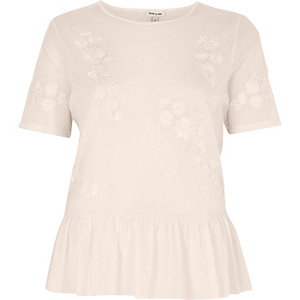 Nude floral applique frill hem top