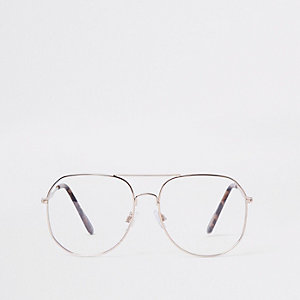 Goldene Pilotensonnenbrille mit transparenten Gläsern