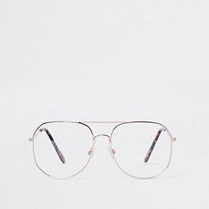 Goudkleurige pilotenzonnebril met heldere glazen