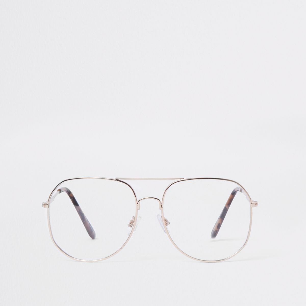 Gold tone clear lens aviator