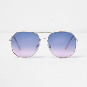 Gold tone ocean lens aviator sunglasses