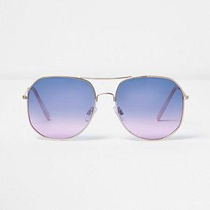 Goudkleurige pilotenzonnebril met oceaankleurige glazen